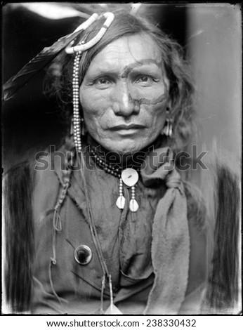 Wild West. Iron White Man, a Sioux Indian from Buffalo Bill's Wild West Show. Gertrude K_sebier, photographer, ca. 1900. - stock photo