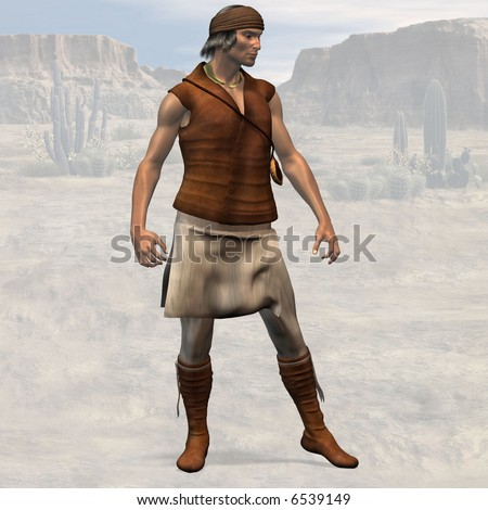 Wild West Series with Cowboys, Indians, Good and Bad Guys Image contains a Clipping Path / Cutting Path for the main object