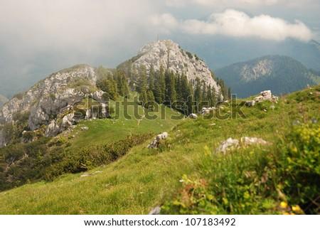 wildalpjoch and k�¤serwand in the bavarian alps - stock photo