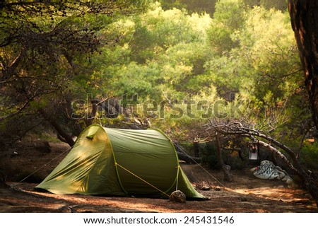 Wilderness camp - stock photo