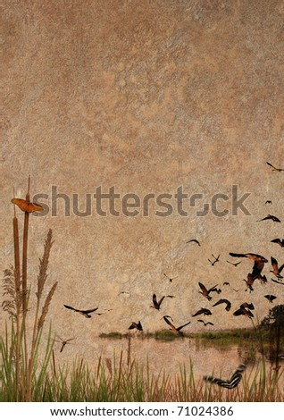 Wilderness Scene on rock texture - stock photo