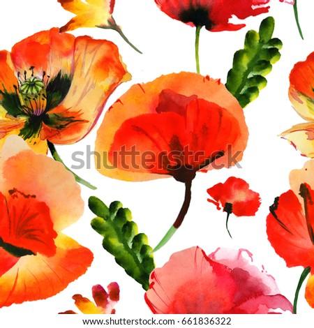 wildflower poppy flower pattern watercolor style stock illustration