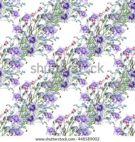 Wildflowers with bell flowers watercolor seamless pattern