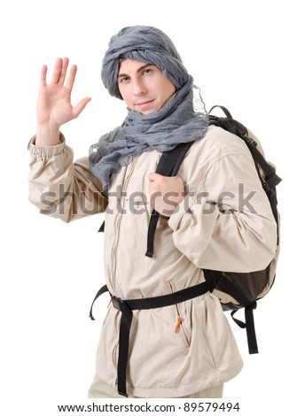 wildman - tourist with backpack on a white background - stock photo