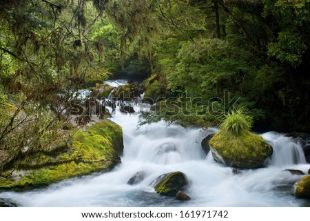 Wildwater river, water masses of Waikato river rushing down a gorge towards Huka Falls Taupo, North Island, New Zealand