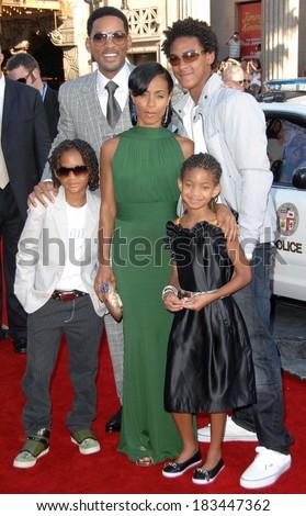 Will Smith, Jada Pinkett Smith, Willow Smith, Jaden Smith at HANCOCK Premiere, Grauman's Chinese Theatre, Hollywood, CA, June 30, 2008  - stock photo