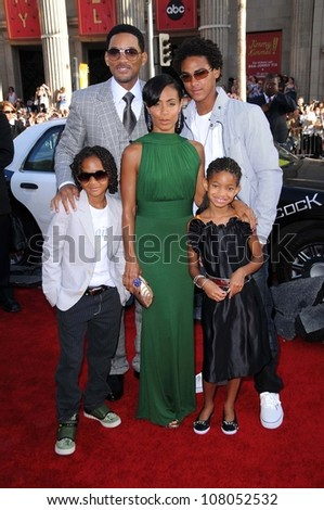 "Will Smith with Jada Pinkett Smith and family  at the World Premiere of ""Hancock"". Grauman's Chinese Theatre, Hollywood, CA. 06-30-08 - stock photo"