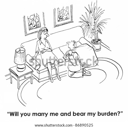 Will you marry me and bear my burden? - stock photo