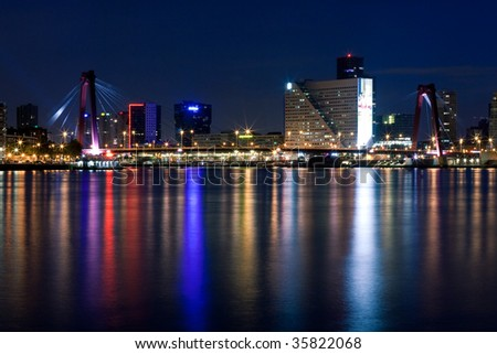 Willems bridge of Rotterdam and Mass River. Night scene - stock photo