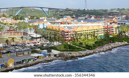 WILLEMSTAD, CURACAO - NOV 25: Rif Fort in Willemstad, Curacao, as seen on Nov 25, 2015. The fort was originally constructed to protect the island's precious harbor. - stock photo