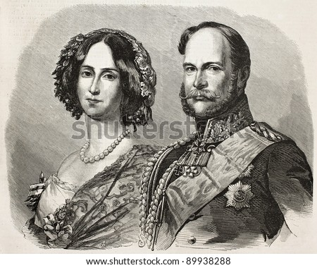 William I, Prince Regent of Prussia (and afterwards German Emperor) with his wife Augusta of Saxe-Weimar-Eisenach. Created by Marc, published on L'Illustration, Journal Universel, Paris, 1858 - stock photo