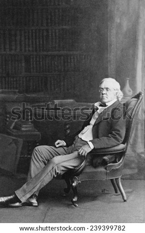 "William Makepeace Thackeray (1811-1863) English novelist known for his classic, ""Vanity Fair"" (1847-8). The heroine, Becky Sharp has been played by Miriam Hopkins (1935) and Reese Witherspoon (2004)."