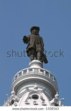 William Penn Statue, Facing Front, Centered - stock photo