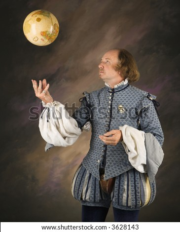 William Shakespeare in period clothing tossing globe into air.
