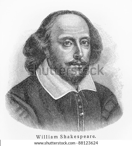 William Shakespeare - Picture from Meyers Lexicon books written in German language. Collection of 21 volumes published  between 1905 and 1909. - stock photo