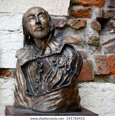 William Shakespeare statue in Verona, Italy - stock photo