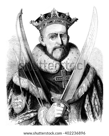 William the Conqueror, vintage engraved illustration. Colorful History of England, 1837. - stock photo