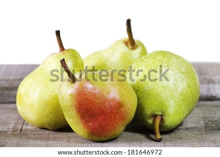 williams pears on wooden table