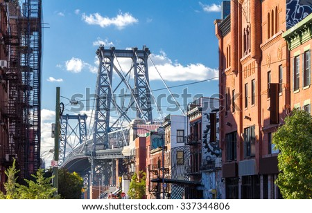 Williamsburg Bridge Street Scene in Brooklyn, New York City - stock photo