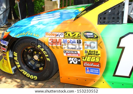 WILLIAMSBURG, VA- SEPTEMBER 5: The front of Kyle Buschs #18 NASCAR race car at the 1st History meets Horsepower show in Williamsburg, Virginia on September 5, 2013 - stock photo