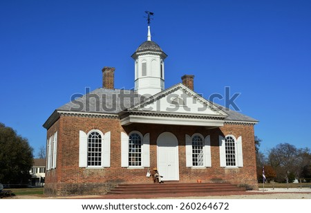 WILLIAMSBURG, VIRGINIA - NOVEMBER 19 2014: The Courthouse on Duke of Gloucester Street in Colonial Williamsburg. The restored town is a living-history museum and a major attraction for tourist. - stock photo