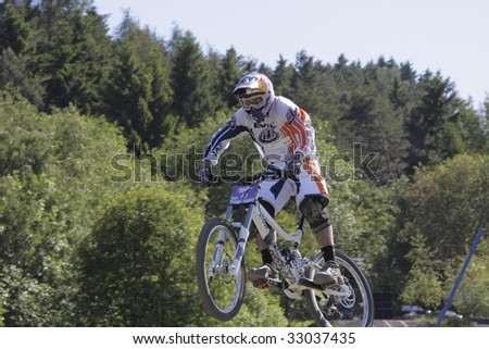 "WILLINGEN, GER - JUNE 13, Steve Smith (CAN) #10, racing at ""world downhill competition"", pro class qualifying, Willingen, Germany, June 13, 2009"