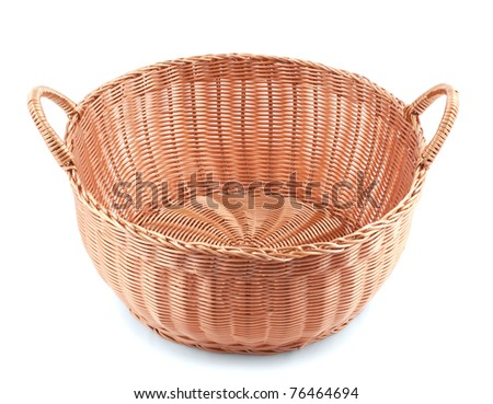 Willow basket isolated on white - stock photo