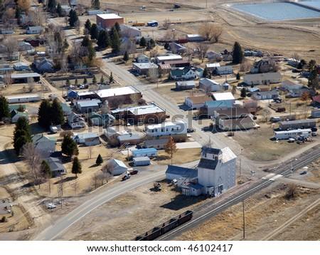 Willow Creek Montana Aerial.  Small town rural America. - stock photo