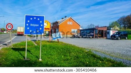 WILTZ, LUXEMBOURG, APRIL 7, 2014: border crossing between luxembourg and belgium near bastonge. - stock photo