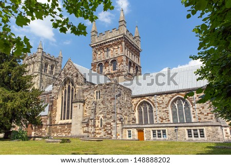 Wimborne Minster church Dorset England, Saxon with Norman and Gothic made of limestone.