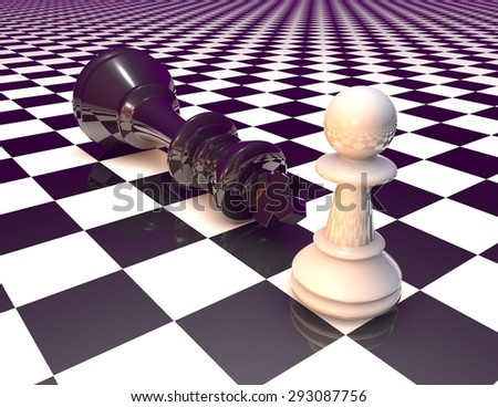 Win and defeat symbol, concept illustration with chess pieces. Purple color tint. - stock photo