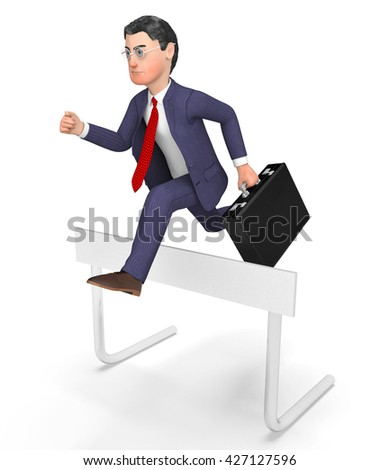 Win Businessman Showing Climb Over And Triumphant 3d Rendering