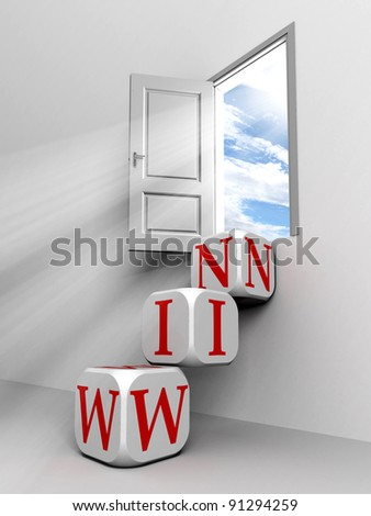 win conceptual door with sky and box red word  ladder in white room metaphor - stock photo