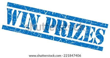 win prizes blue square grunge textured isolated stamp - stock photo