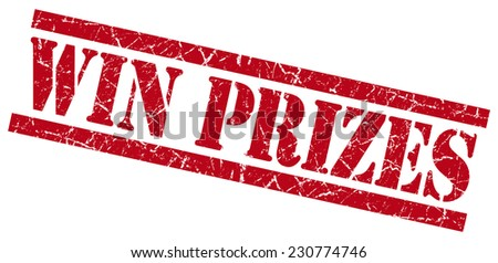 win prizes red square grunge textured isolated stamp - stock photo