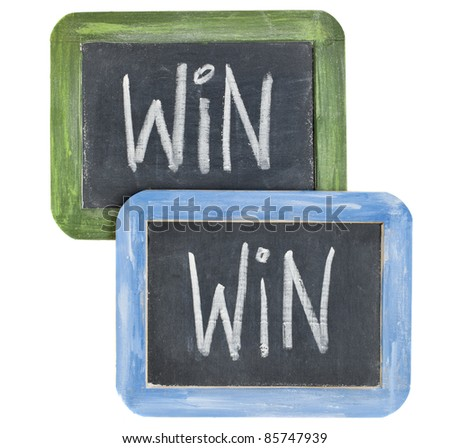 win-win concept - white chalk writing on two small slate  blackboard isolated on white - stock photo