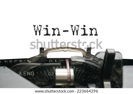 Win-win on typewriter - stock photo