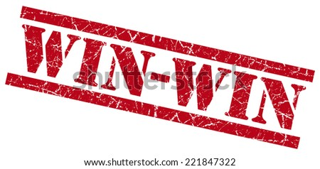 win-win red square grunge textured isolated stamp - stock photo