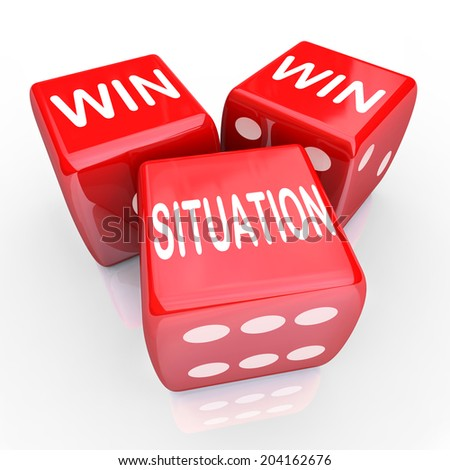 Win Win Situation words three red dice agreement or arrangement mutually beneficial - stock photo
