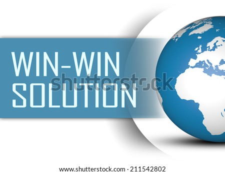 Win-Win Solution concept with globe on white background