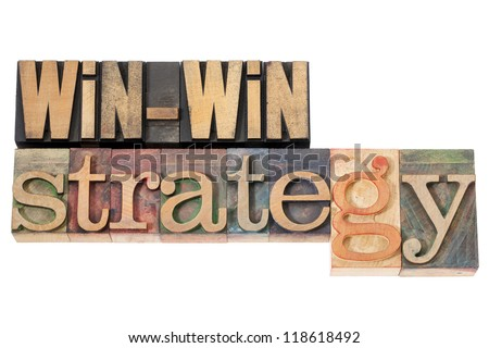 win-win strategy - negotiation or conflict resolution concept - isolated words in vintage wood type - stock photo