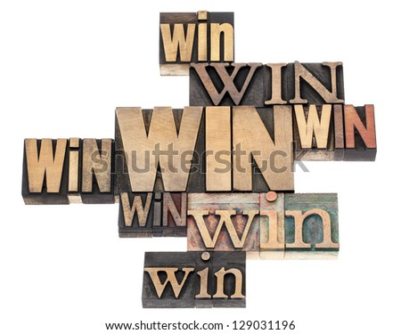 win word abstract - isolated text in a variety of vintage letterpress wood type printing blocks - stock photo