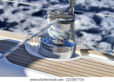 Winch on a sailing boat - stock photo