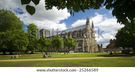 Winchester Cathedral on a lovely summer day - stock photo