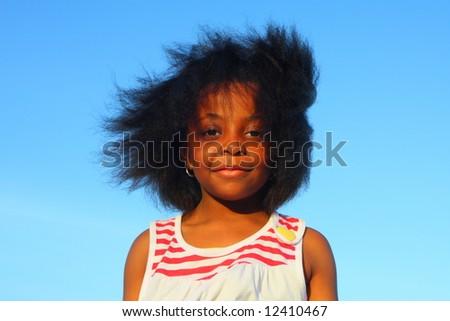 Wind blown hair - stock photo