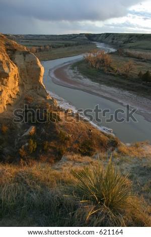 Wind Canyon Sunset - stock photo