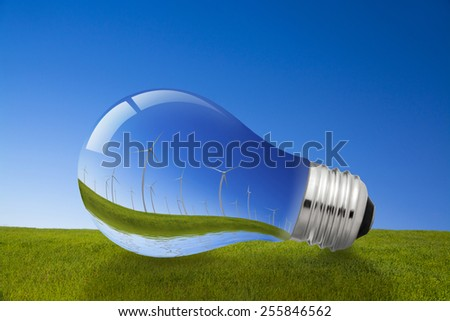 Wind Energy and Light Bulb Concept - stock photo