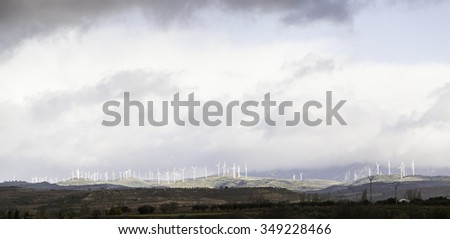 Wind energy in nature, detail of ecology and environment, nature conservation - stock photo