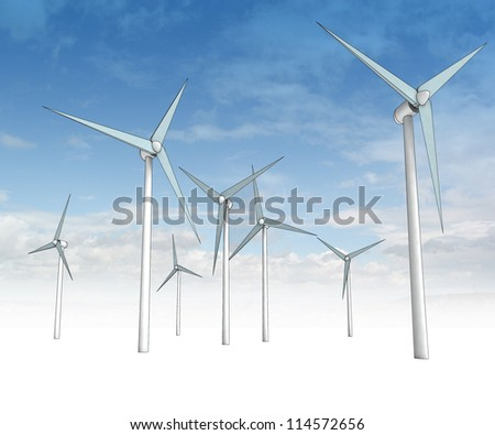 wind energy power field with blue sky render illustration