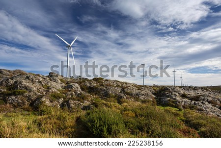 Wind Energy Turbines in the Mountains, Arouca, Portugal - stock photo